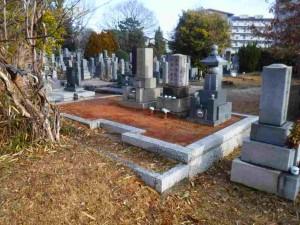 墓石 外画 間知石 据直し工事 前