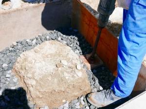 基礎工事 砕石転圧